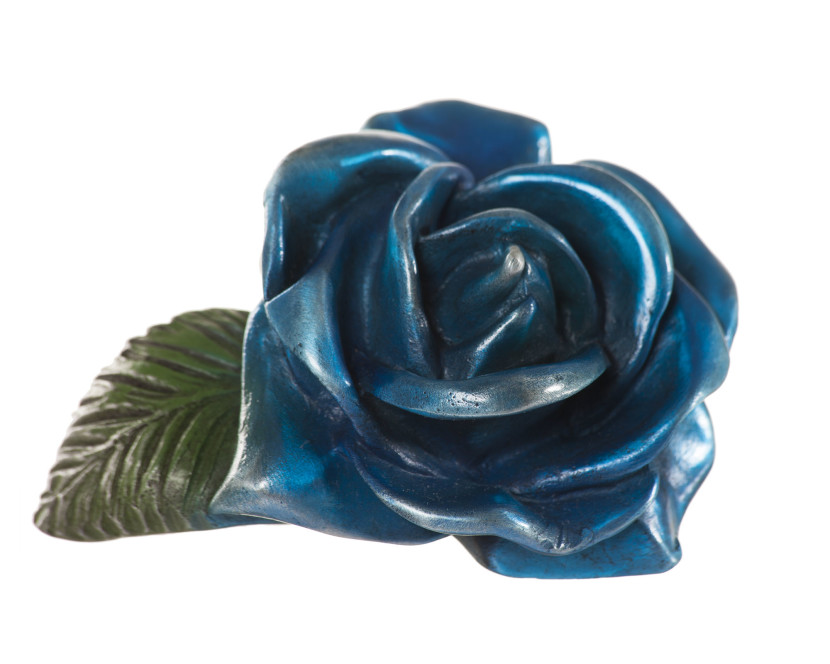 Navy Blue Rose Floral Sculpture Cast Metal Floral Sculpture