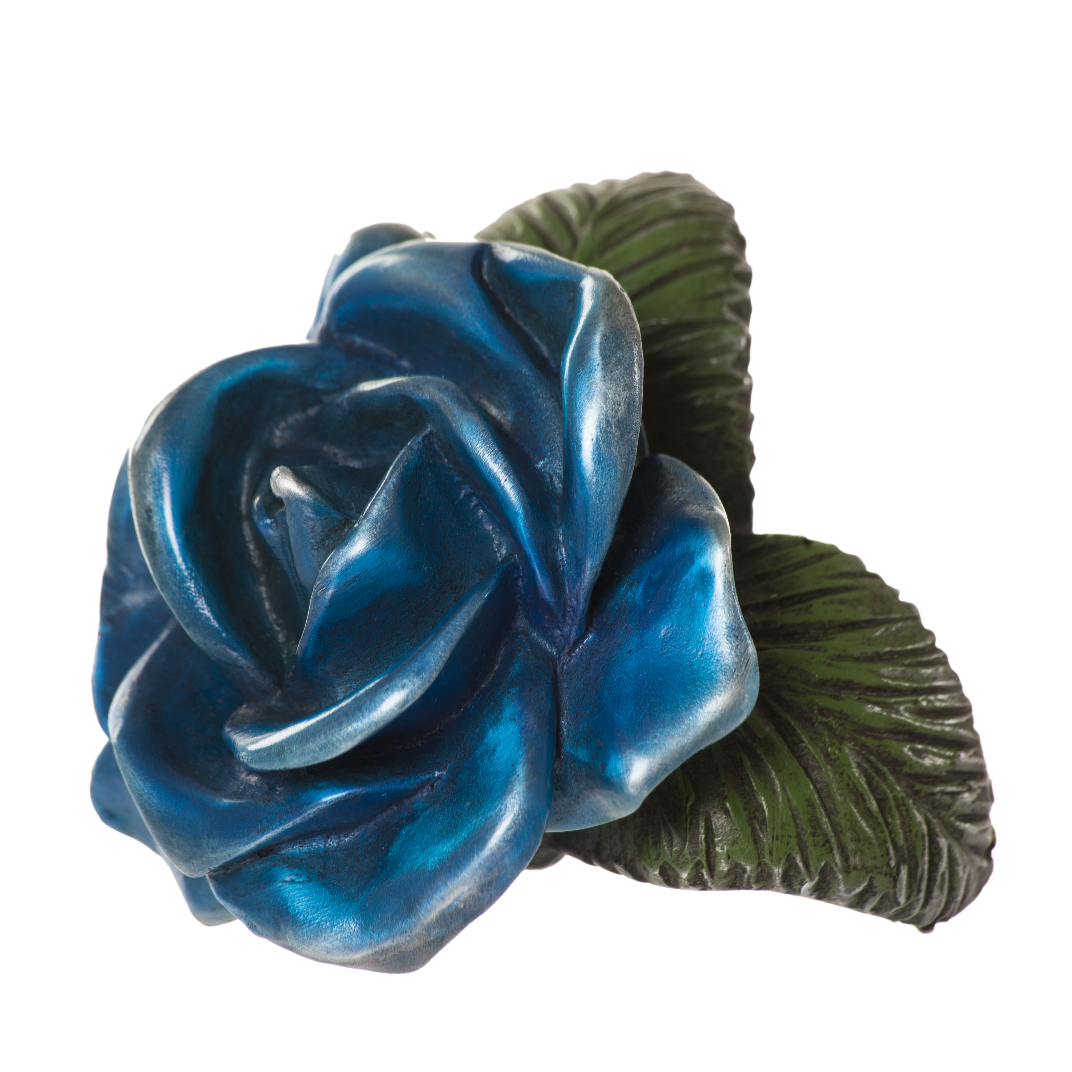 Navy Blue Rose Floral Sculpture Distilled Art Design
